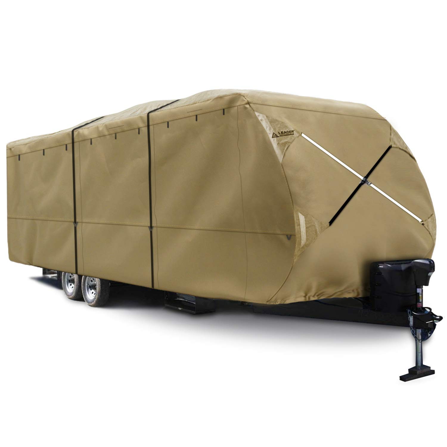Leader Accessories Premium 300D Upgrade Travel Trailer RV Cover Fits 27'-30' Camper Outdoor Protect Trailer Cover, Beige by Leader Accessories