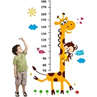 Cartoon Giraffe Kids Growth Chart Height Measure For Home/kids Rooms Diy Wall Stickers Am805