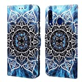 EnjoyCase Wallet Case for Galaxy A40,Colorful Mandala Flower Pattern Pu Leather Bookstyle Card Slots Magnetic Flip Cover With Hand Strap for Samsung Galaxy A40