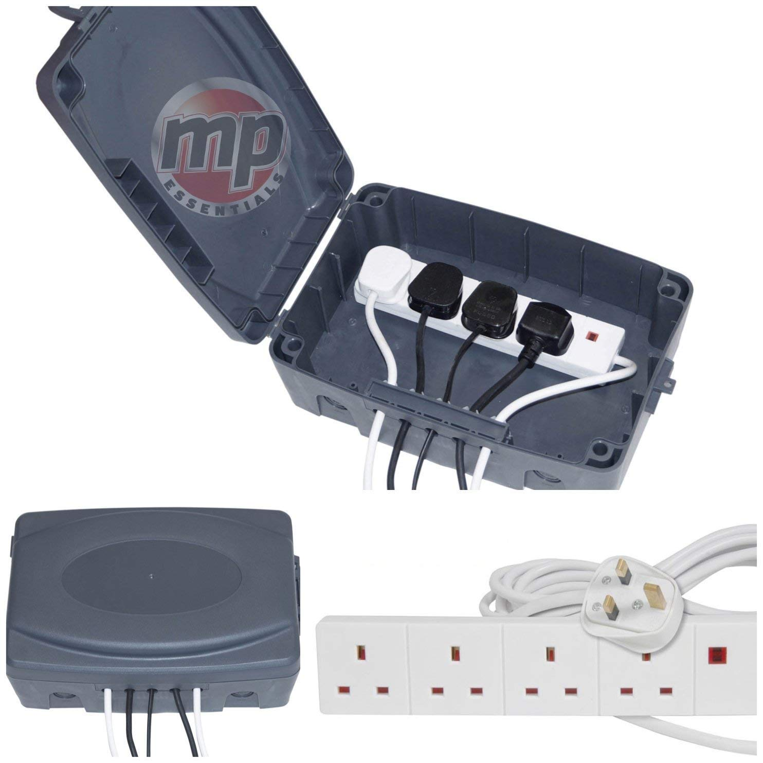 MP Essentials Outdoor Waterproof Masterplug Electrical Connection Box & 4 Gang 5M Extension Lead