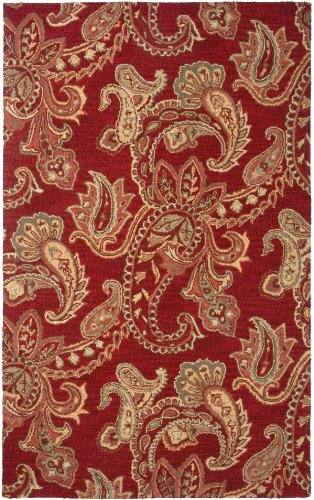 Rizzy Home Ashlyn Collection Hand-Tufted AL2651 Burgundy Floral 8' x 10' Area Rug