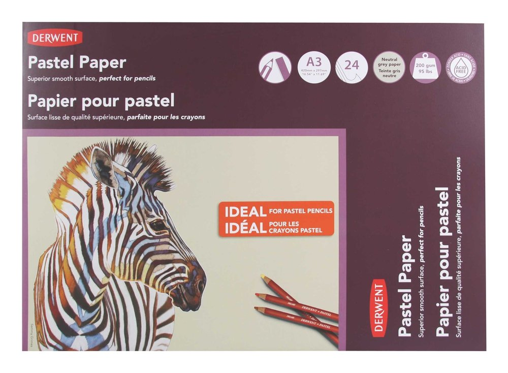 Derwent Pastel Paper Pad, A3, 16.54 x 11.69 Inches Sheet Size, Gray, 24 Sheets (2302100) ACCO Brands