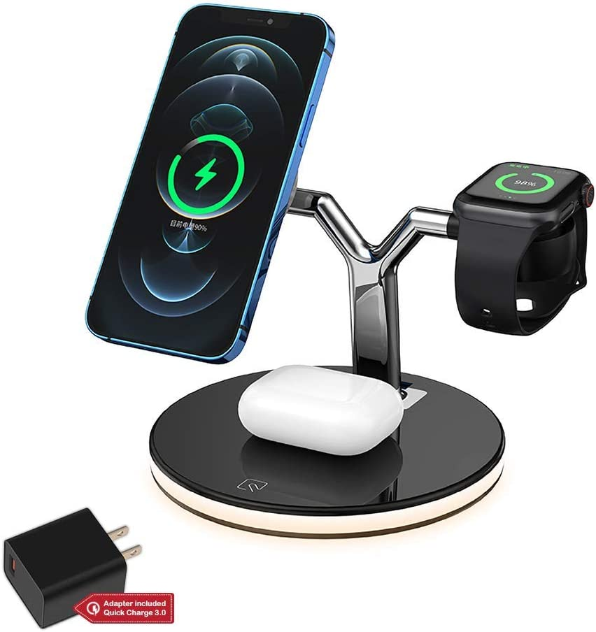 UPNEXT 3 in 1 Wireless Charging Station Apple Compatible with MagSafe | QC3.0 Adapter 18W | iPhone 12 Charging Station for Multiple Devices | Airpods, Apple Watch Charger