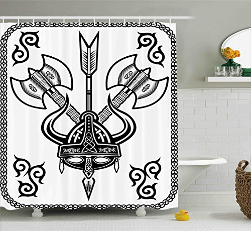 Ambesonne Viking Shower Curtain Set by, Helmet with Horn Arrow Axe Antique War Celtic Style Medieval Battle Culture Art Prints, Fabric Bathroom Decor with Hooks, 70 Inches, Black (Helmet Axe)