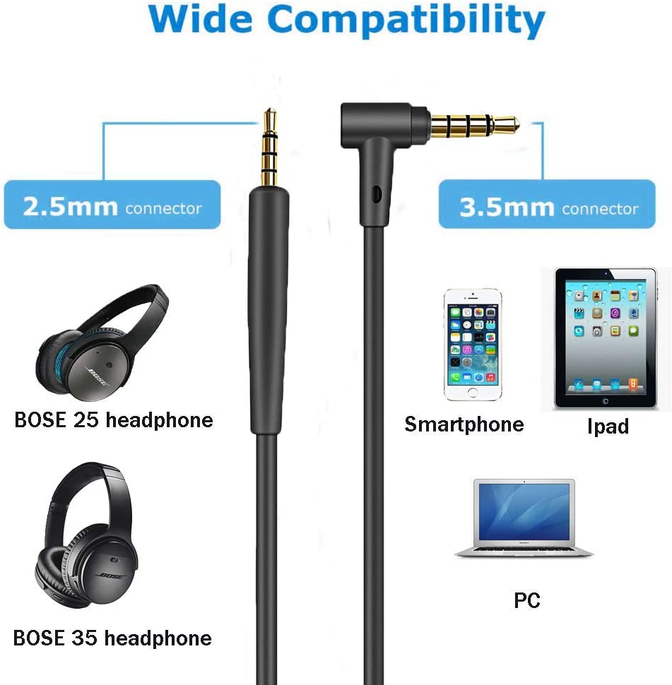 Replacement Audio Cable Cord for Bose QC25, QC35, QuietComfort 25, QuietComfort 35, On-Ear 2,OE2,OE2i Headphones Inline Mic/Remote Control – Black: Electronics