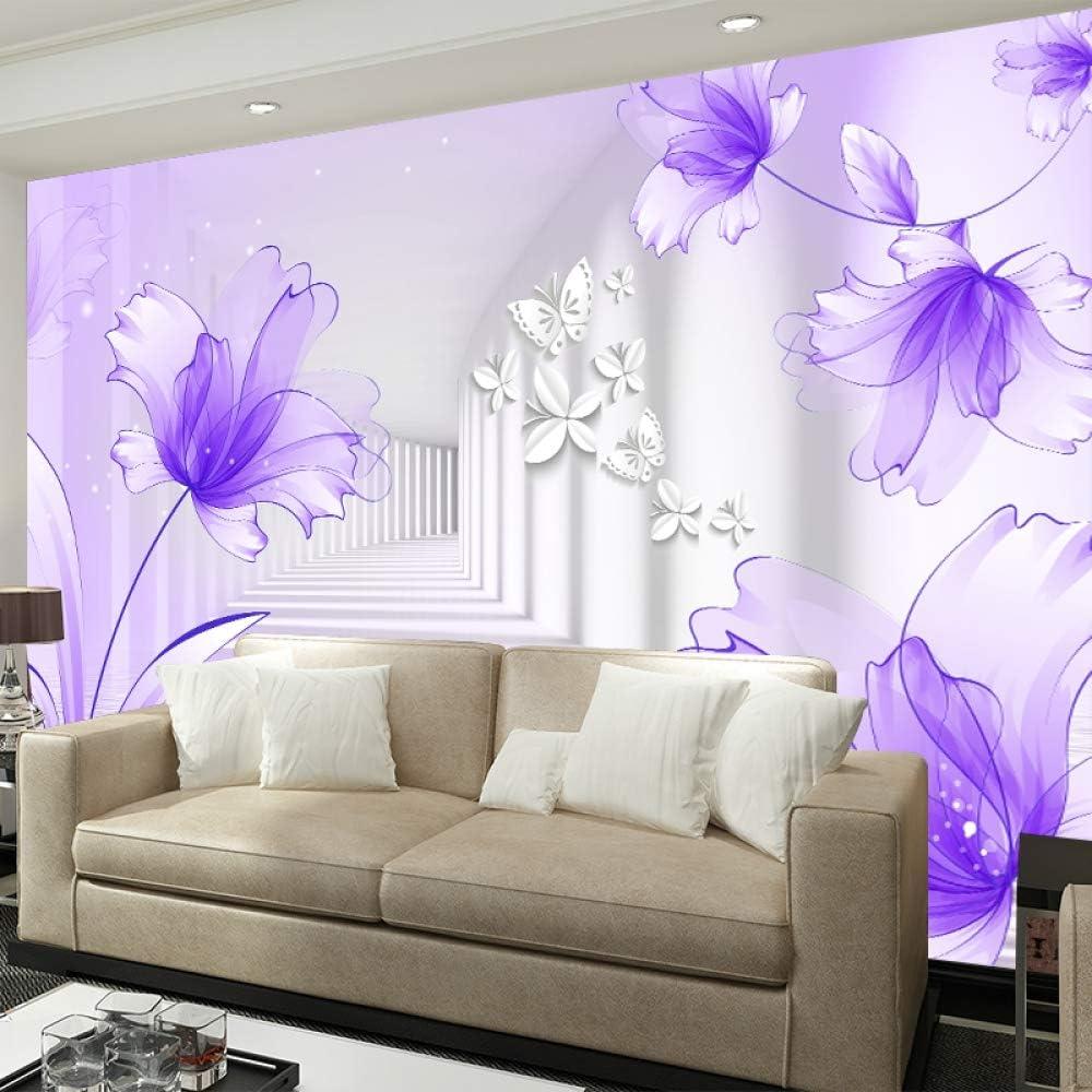 H /×70Cm BHXIAOBAOZI Papel Pintado,Mural,Foto Tapiz Personalizado 3D Grande Flor De lis P/úrpura Minimalista Moderno Sal/ón Sof/á TV Fondo Papel Tapiz Mural 3D 140Cm W