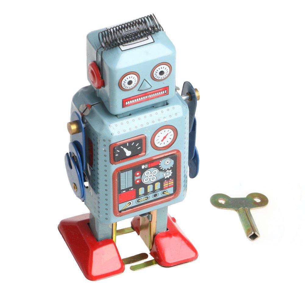 Vintage Mechanical Clockwork Wind Up Walking Robot Tin Toy Kids Gift Collection Ideal Christmas Birthday Robot Toy Gift for Kids Kofun Robot Toy,1Piece