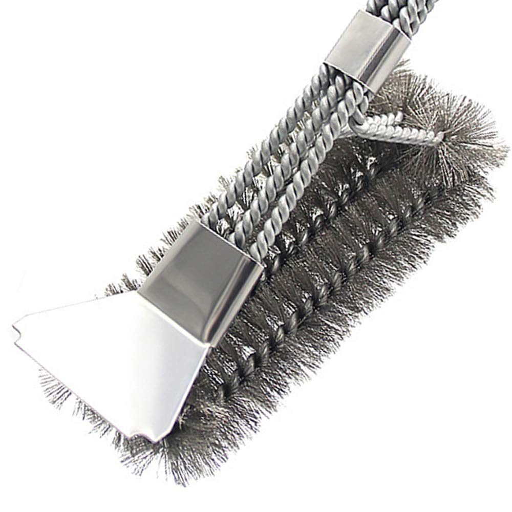 Linjce Grill Brush and Scraper.BBQ Brush,Stainless Steel Brush,Wire Bristle Barb