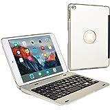 iPad Mini 4 Tastaturhülle, COOPER KAI SKEL tragbare QWERTY Bluetooth Funktastatur Hartschalen-Klapphülle für Apple iPad Mini 4 (Silber, Ruhezustand/Aktivieren-Funktion)