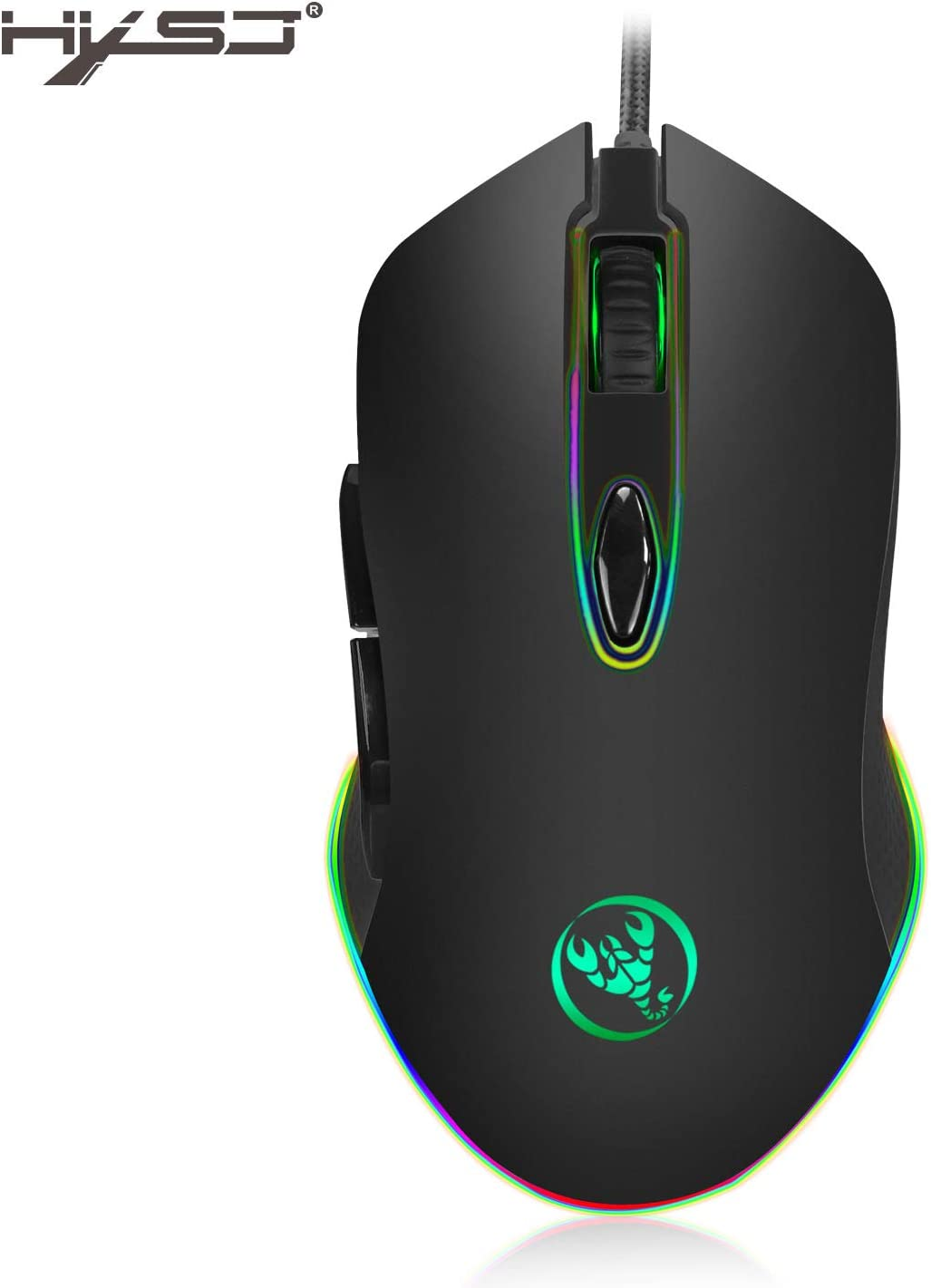 Alician HXSJ S500 Gaming Mouse USB Wired Mouse 6 Buttons 200-4800DPI Optical USB Wired Desktop Mouse RGB Backlit