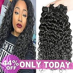 Mei You 8A Brazilian Water Wave virgin hair 3 Bundles Remy Human Hair Natural Black Color (10.12.14) …