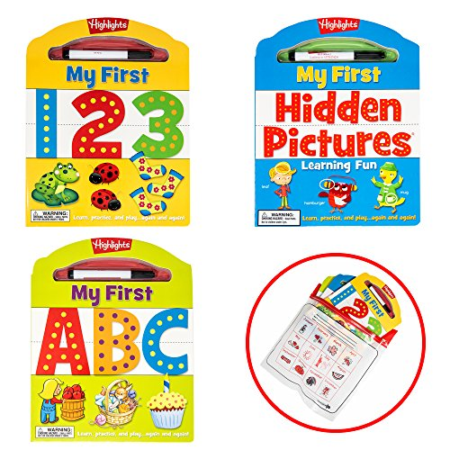 Highlights My First Write-On Wipe-Off Board Books, Set of 3: ABCs, 123s Hidden Pictures Learning Activity Books Red Calendar ()