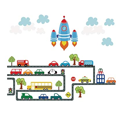 Amazon.com: decalmile Cars Wall Decals Boys Transportaion Wall ...