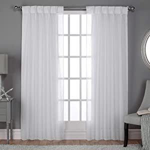 "Exclusive Home Curtains Belgian Sheer Textured Linen Look Jacquard Pinch Pleat Panel Pair, 108"" Length, Winter White, 2 Piece"