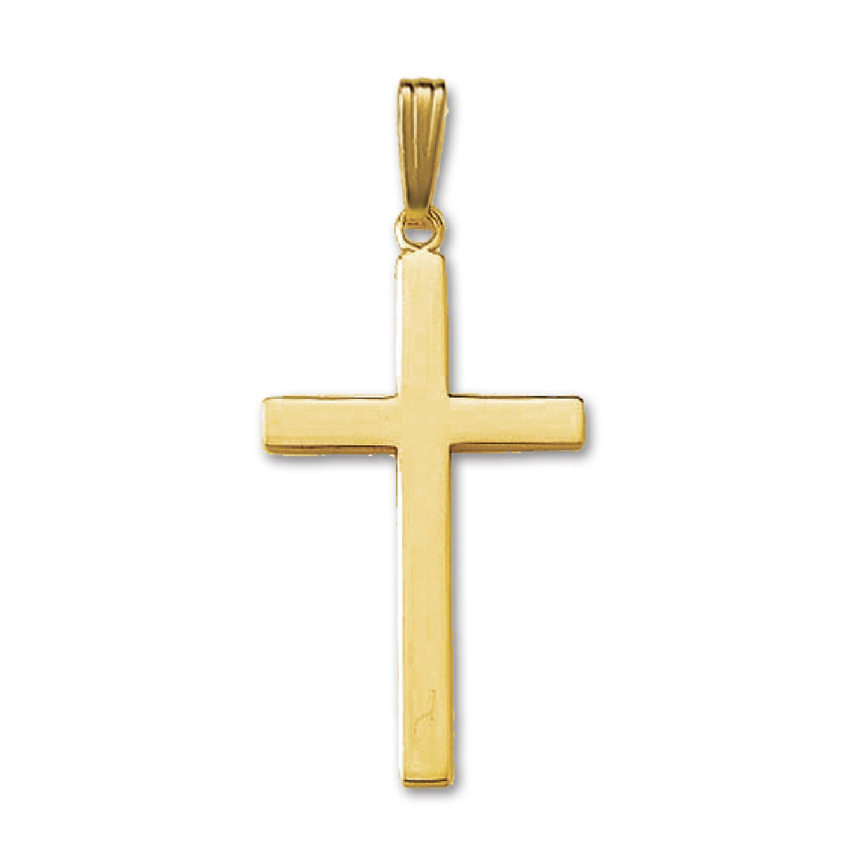 Genuine 14K Yellow Gold Solid Cross Pendant (1 1/4''x3/4'')