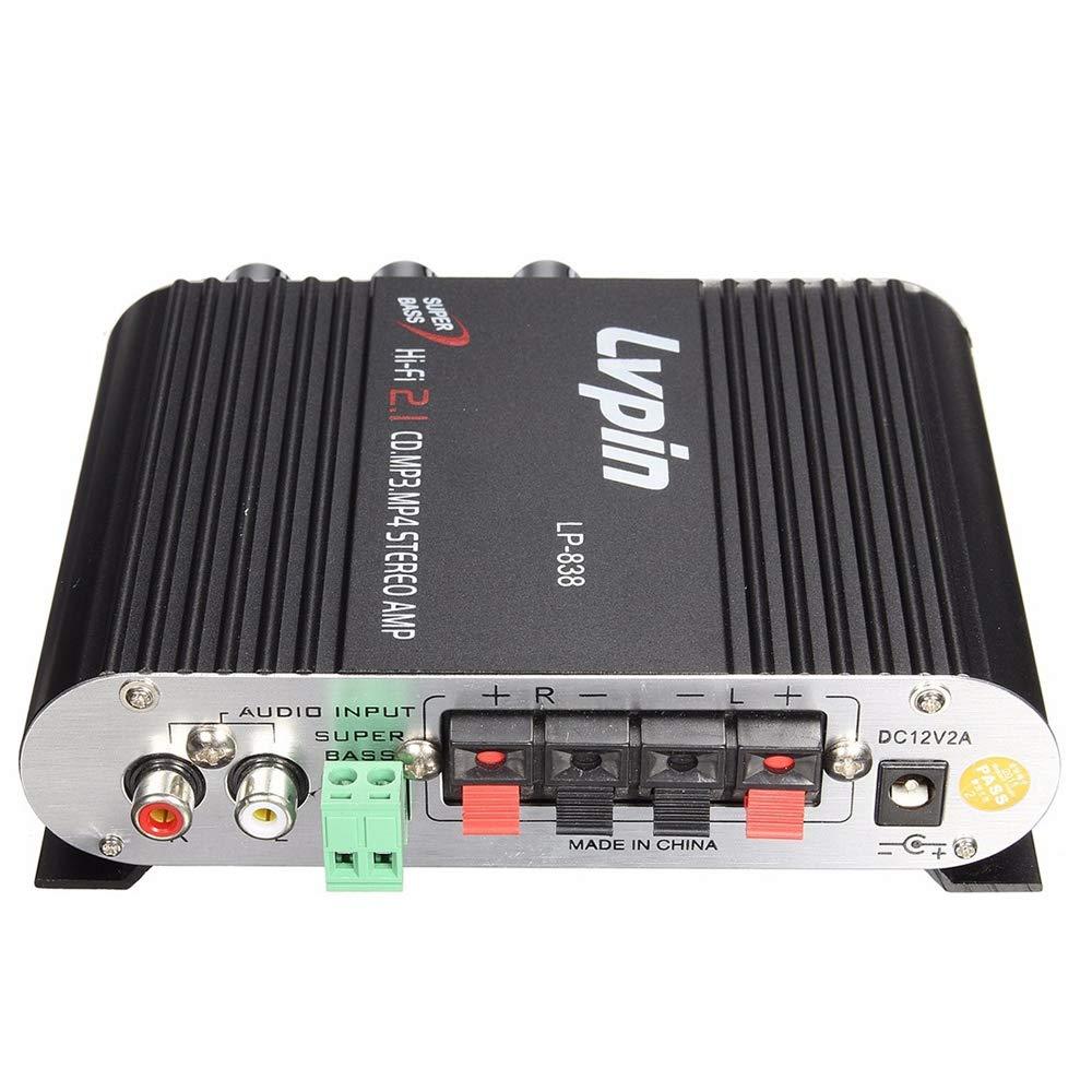 Festnight Amplificateur st/ér/éo Car Audio Mini HIFI Receveur laudio St/ér/éo Puissance Amplificateur Subwoofer MP3 Cha/înes de Voiture Radio M/énage Super Bass Lvpin 838