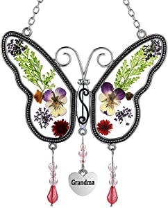 Grandma Butterfly Suncatchers Glass Grandmother Wind Chime with Pressed Flower Wings Embedded in Glass with Metal Trim Grandma Heart Charm - Gifts for Grandma -Grandma for Birthdays Christmas
