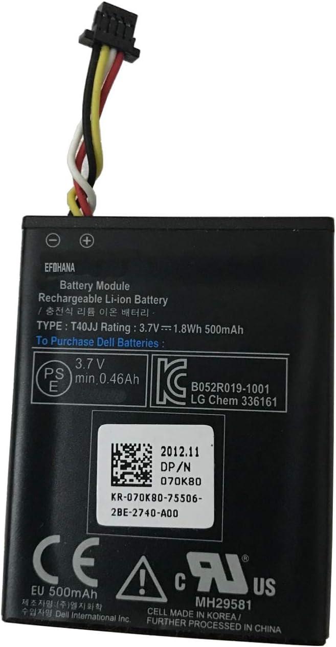 efohana T40JJ Laptop Battery Replacement for DELL PowerEdge M620 R320 R420 R520 R620 R720 R820 T110 II T420 Perc H710 H710P H73 H810 H830 Series Notebook 070K80 70K80 H132V 0H132V 7.4V 1.8Wh 500mAh
