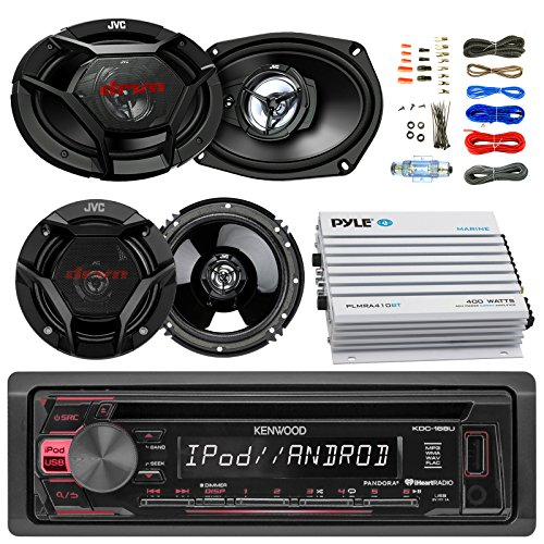 "Kenwood KDC168U Car CD Player Receiver USB AUX Radio - Bundle Combo With 2x JVC 6x9"" 3-Way Vehicle Coaxial Speakers + 2x 6.5"" Inch 2-Way Audio Speakers + 4-Channel Amplifier + Amp Kit"