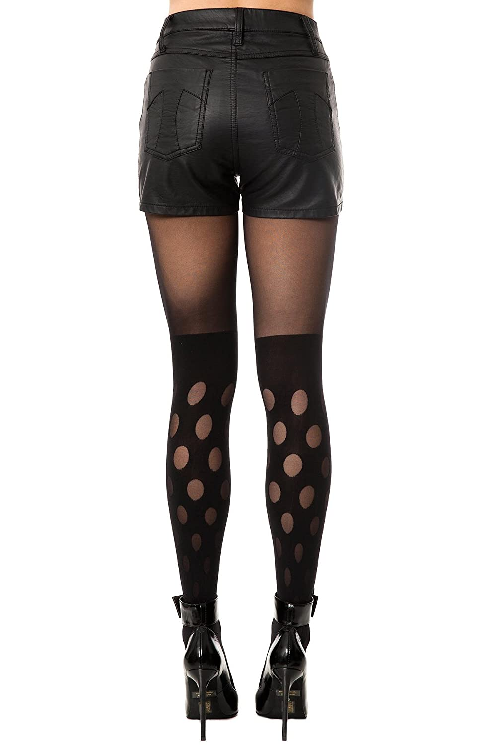 fe80a03f0de House of Holland Women s Reverse Polka Dot Tights One Size Black at Amazon  Women s Clothing store