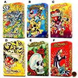 Ed Hardy Jumbo Oil Table Lighter Cigarette Cigar Oversized, Tatto Artist Christian Audigier Flint Flip Top Refillable (SELECT 1) Qty 1