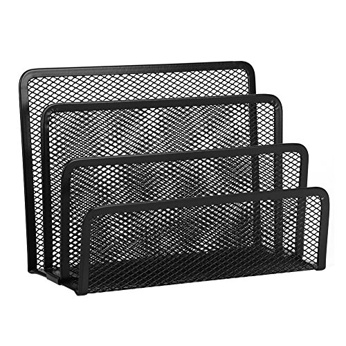 Desktop Mesh Vertical File Organizer Basket, Portable Durable Office/Home Upright 3 Compartment Storage Holder Bins Crate Folder Holder for Office Supplies (Home Office Portable)