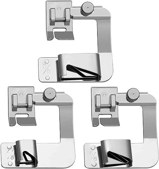 SUPVOX 3 piezas profesional de costura doméstica pie laminado dobladillo prensatelas máquina de coser prensatelas para máquina de coser fábrica hogar: Amazon.es: Hogar