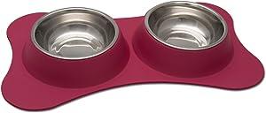 Loving Pets Bone Shaped Flex Diner for Dogs, Pomegranate
