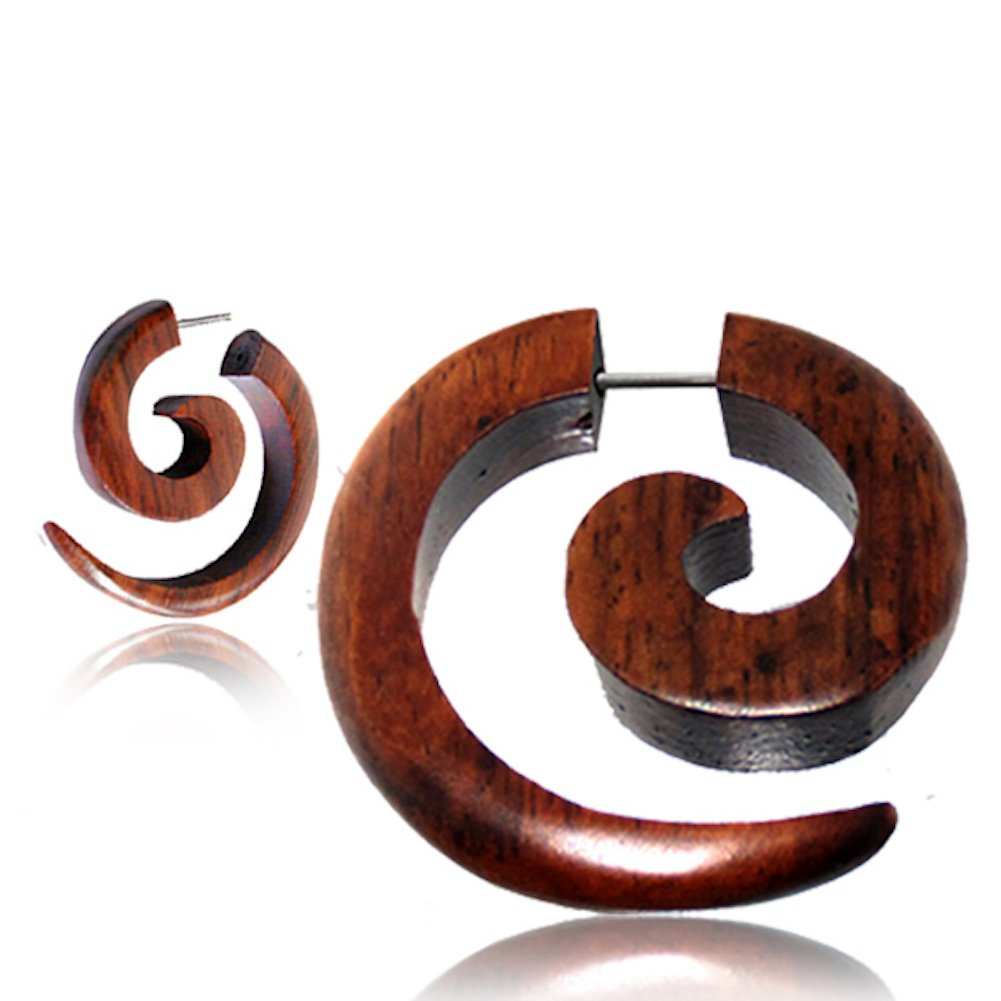 Faux Gauge Earrings with Organic Wood and Surgical Steel Earth Accessories Spiral Fake Gauges for Women or Men Fake Plugs Sold as a Pair in Black or Brown