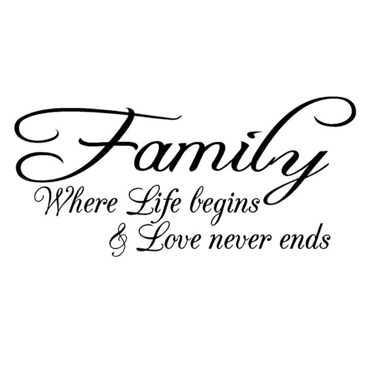 Empresal Family Love Life Begins Vinyl Wall Decal Quote Home Decor Removable Sticker