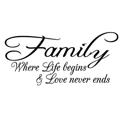 Amazon Com Family Love Life Begins Vinyl Wall Quote Decal Home
