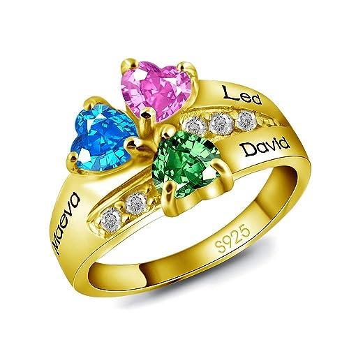 d4f2dd072c78 Godmoy Anillo de Nombre Personalizado con Piedra de Nacimiento 2 Piedras de  Corazón Personalizadas 2 Nombres Plata de Ley 925   Oro Oro Rosa   Amazon.es  ...