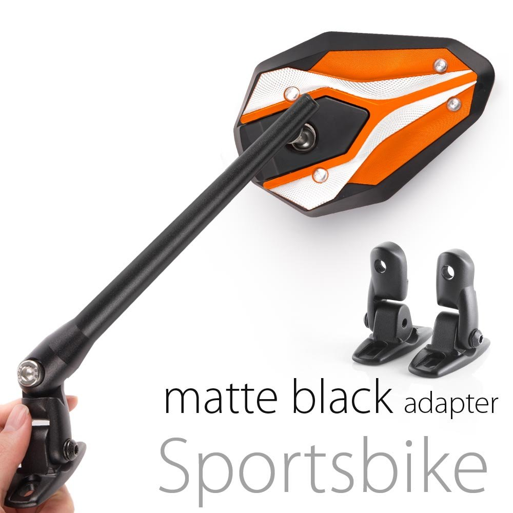 KiWAV Magazi Viper II motorcycle mirrors orange fairing mount w/ matte black adapter for sports bike adjustable e