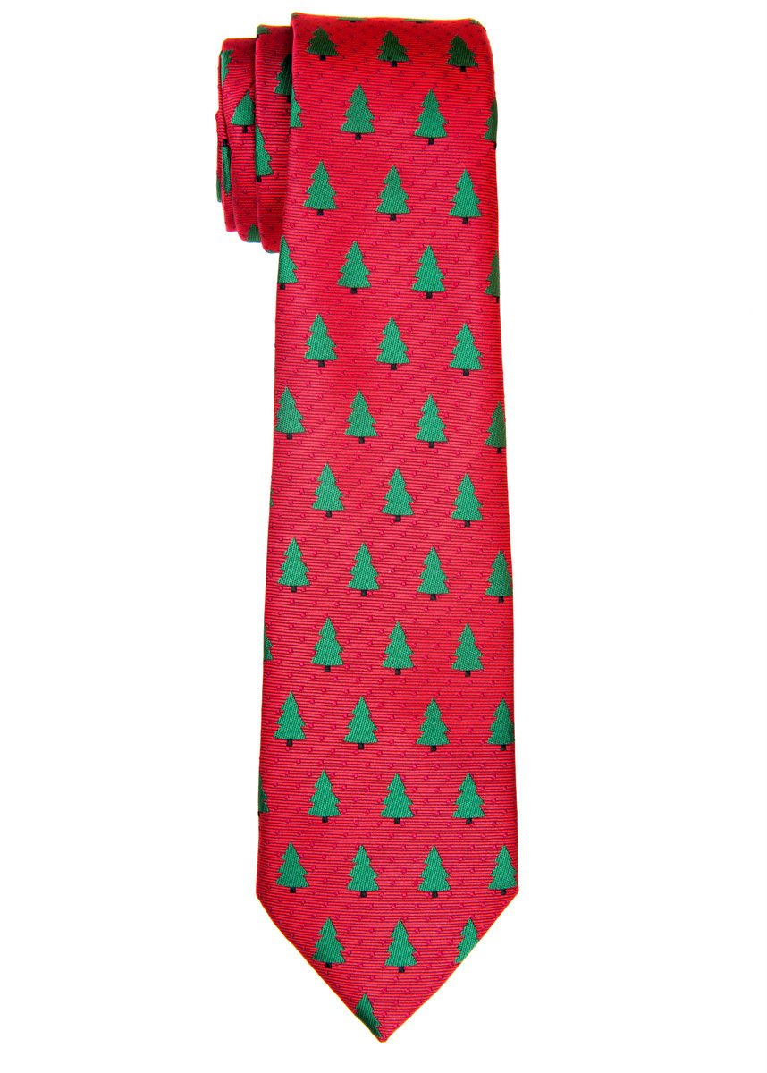 Retreez Red Christmas Woven Boy's Tie with Christmas Trees Pattern - 8-10 years