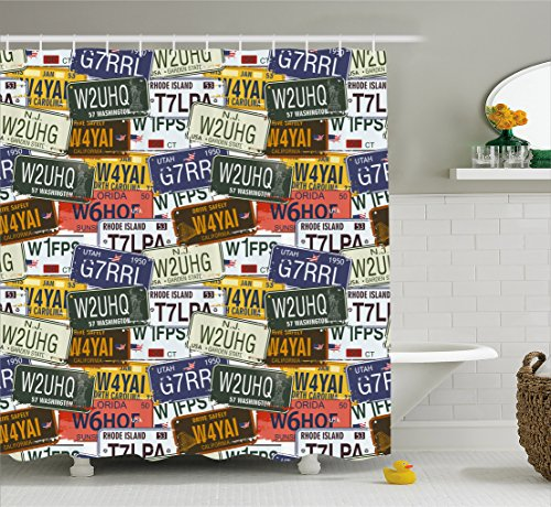 Ambesonne USA Shower Curtain, Retro American Auto License Plates Utah Washington Rhode Island North Carolina Print, Fabric Bathroom Decor Set with Hooks, 70 Inches, Multicolor (Retro Washington Color)