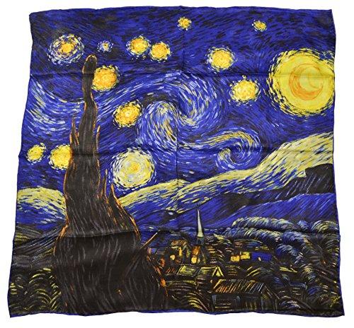 (YSSP, Starry Night-Van Gogh's Painting, Square Elegant Luxury Fashion 100 Silk Scarf Premium Shawl Wrap)