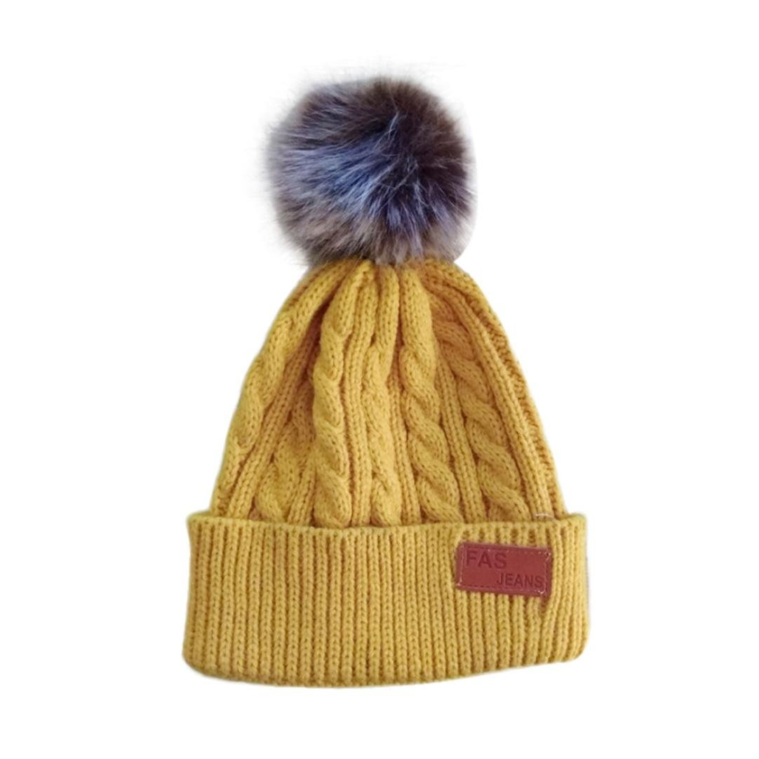 e126e61503a Minshao Baby Boys Girls Beanie Cotton Letter Knitted Ball Warm Hat Cap For  2-8 Years Old