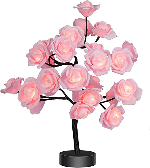 Table Lamp Rose Flower Desk Tree Lamp Gift for Girls Women Teens Home Décor for Wedding Christmas Living Room Bedroom Party with 24 Warm White LED Lights |Two Modes: USB/Battery Powered(Black)… - - Amazon.com