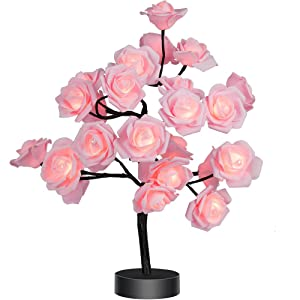 Table Lamp Rose Flower Desk Tree Lamp Gift for Girls Women Teens Home Décor for Wedding Christmas Living Room Bedroom Party with 24 Warm White LED Lights |Two Modes: USB/Battery Powered(Black)