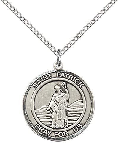 Amazon sterling silver st patrick pendant with 18 stainless sterling silver st patrick pendant with 18quot stainless steel lite curb chain patron aloadofball Gallery