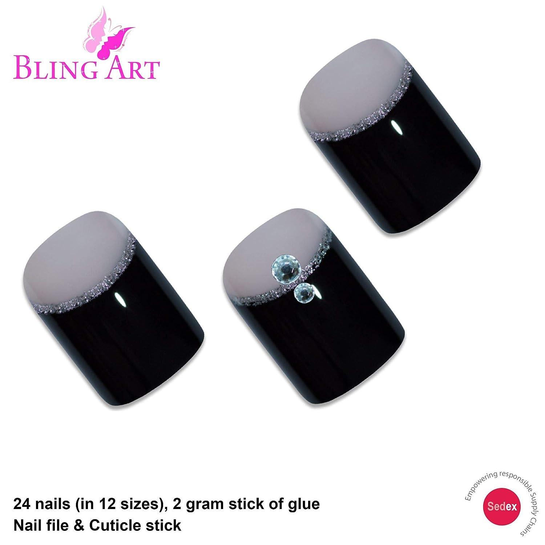 Amazon.com: Bling Arte falso Uñas Francés falso puntas Negro ...