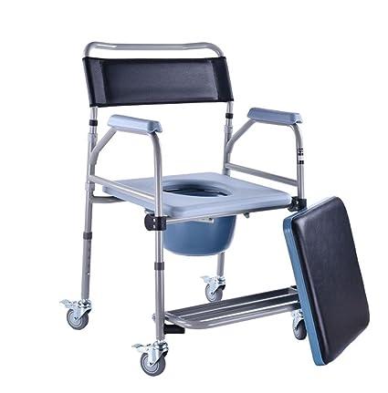 Silla de baño con ruedas y asiento acolchado para inodoro, asiento de ducha, silla