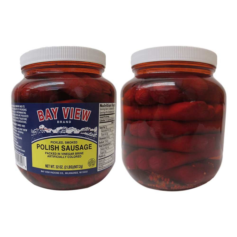 Bay View Pickled Polish Sausage, Two Jars