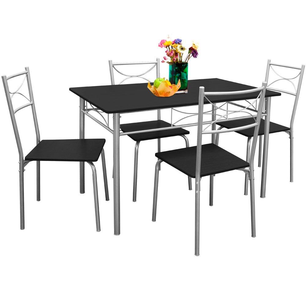 Set da pranzo | 4 sedie 1 tavolo | Color nero Deuba
