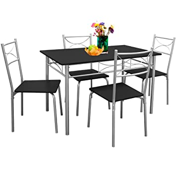 Deuba Ensemble Tables Chaises Paul Salon Cuisine Terrasse Table Manger Set 5 Pcs