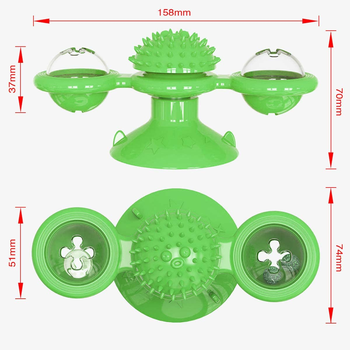 1 PC, Green Windmill Cat Toy Silicone Turntable Teasing Pet Toy Interactive Rotatable Ball for Pets Home Playing