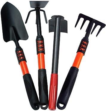 Juego de 4 herramientas de jardinería, pala para jardín, azada, rastrillo de 5 dientes, juego de herramientas para jardín, herramienta para exteriores: Amazon.es: Bricolaje y herramientas