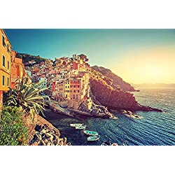 Boat Cinque Terre Cityscape Italy Sea - Art Print Poster Wall Decor Home Decor(32x24inches)