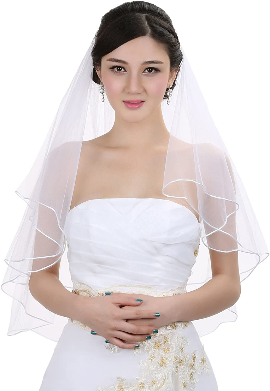 SAMKY 2T 2 Tier Sattin Rattail Edge Center Gathered Wedding Veil