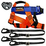 Fusion Climb Tactical Edition Kids Commercial Zip Line Kit Harness/Dual Lanyard/Trolley Bundle FTK-K-HLLT-01